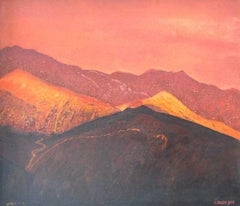 Red peaks - XX century, Landscape oil painting, Figurative