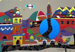 Via Venezia - XXI century, Mixed media, Abstract print