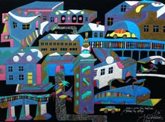 Blue town, but silver sneaks in - XXI century, Mixed media, Abstract print