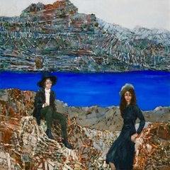 Mountain trip - XXI century, Oil figurative painting, Colourful, Landscape