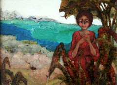Resting in agaves shadow XXI century Oil figurative painting Colourful Landscape