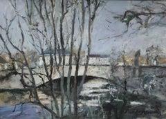 Bridge in Strasbourg - XXI century, Oil on canvas, Figurative, Landscape