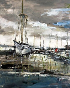 Boats - XXI century, Oil on canvas, Figurative, Landscape