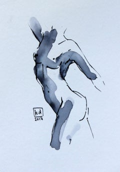 Nude - XXI century, Figurative drawing, Watercolour and ink
