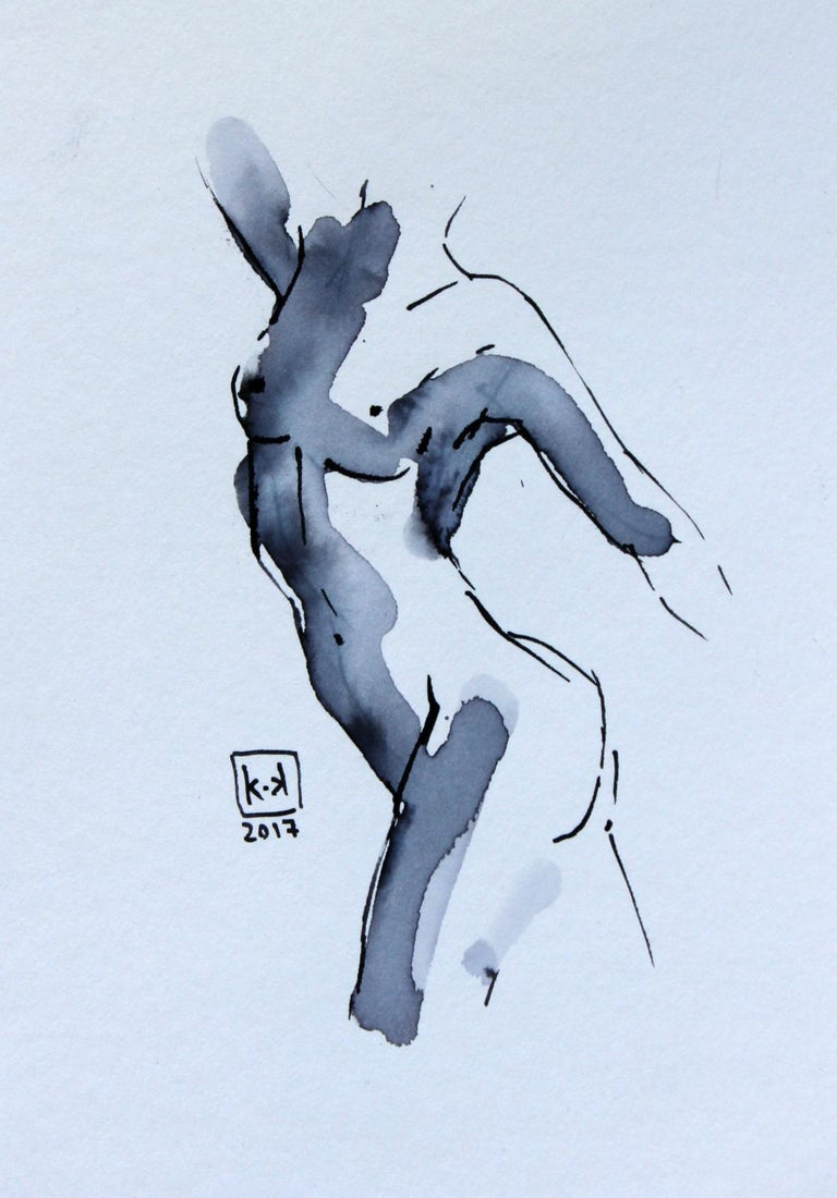 Nude - XXI century, Figurative drawing, Watercolour and ink 1