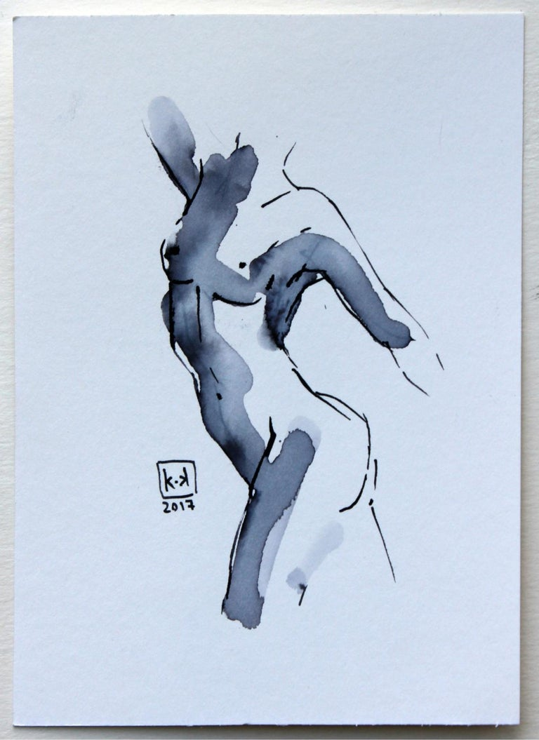Nude - XXI century, Figurative drawing, Watercolour and ink 2