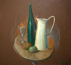 Pitcher and a bottle - XX century, Oil figurative painting, Still life
