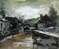 Houses - XXI century, Oil on cardboard, Figurative, Landscape