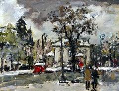 Warsaw Krakowskie Przedmieście XXI century, Oil painting, Figurative, Landscape
