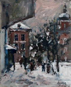 Warsaw. The Old Town - XXI century, Oil on cardboard, Figurative, Landscape