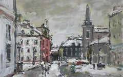 Warsaw. The New Town - XXI century, Oil on cardboard, Figurative, Landscape