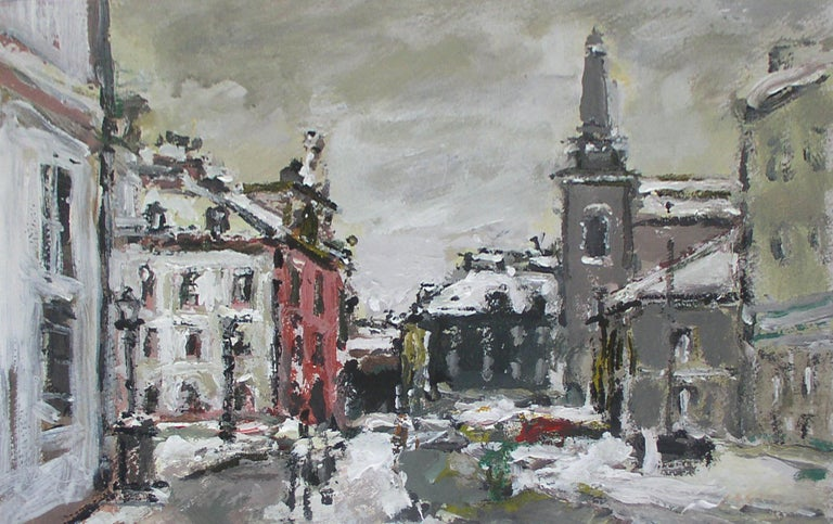Magdalena Spasowicz Landscape Painting - Warsaw. The New Town - XXI century, Oil on cardboard, Figurative, Landscape