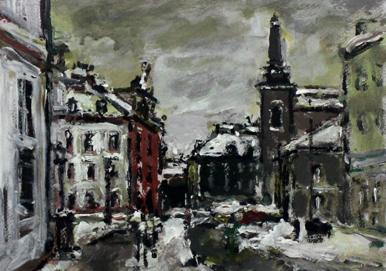 Warsaw. The New Town - XXI century, Oil on cardboard, Figurative, Landscape - Painting by Magdalena Spasowicz