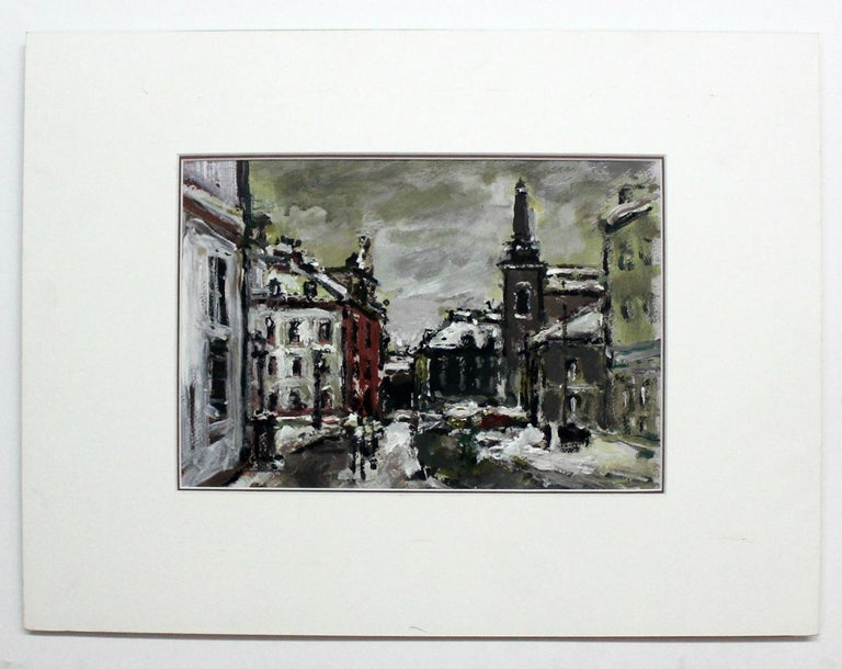 Warsaw. The New Town - XXI century, Oil on cardboard, Figurative, Landscape - Other Art Style Painting by Magdalena Spasowicz