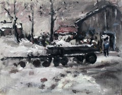 Backyard - XXI century, Oil on canvas, Figurative, Landscape