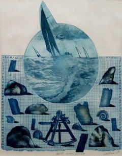 Cruise VII - XX century, Etching figurative print, Sea