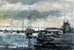Port - XXI century, Oil on cardboard, Figurative, Landscape