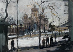The Orthodox Church in Warsaw XXI century, Oil on canvas, Figurative, Landscape