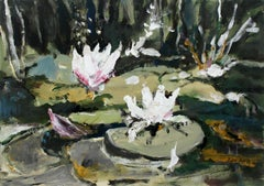 Waterlilies - XXI century, Oil painting, Figurative, Grey tones