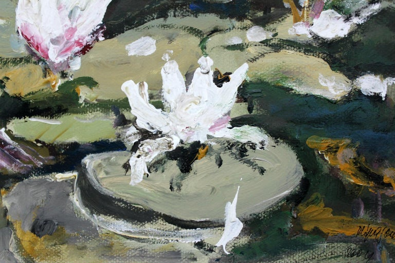 Waterlilies - XXI century, Oil painting, Figurative, Grey tones 3