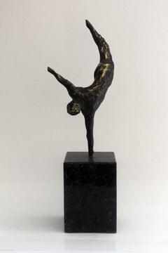 An acrobat - XXI century, Bronze figurative sculpture, Nude