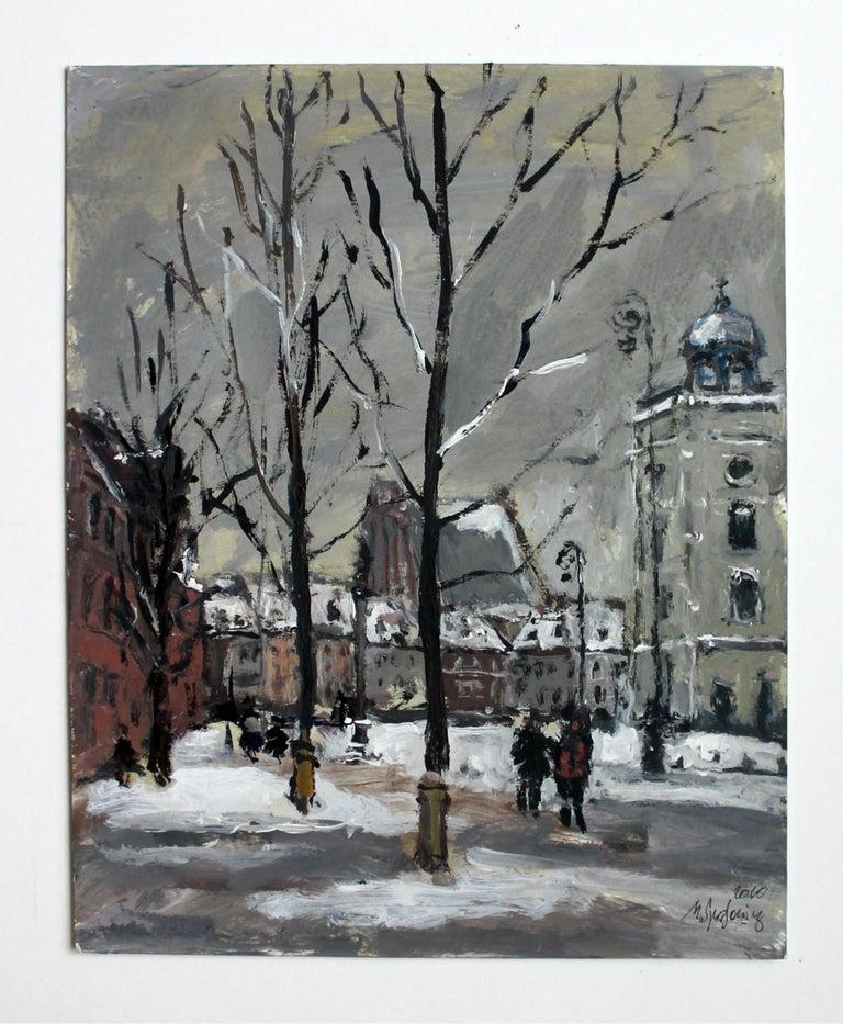 Warsaw Krakowskie Przedmieście XXI century, Oil on canvas, Figurative, Landscape 2