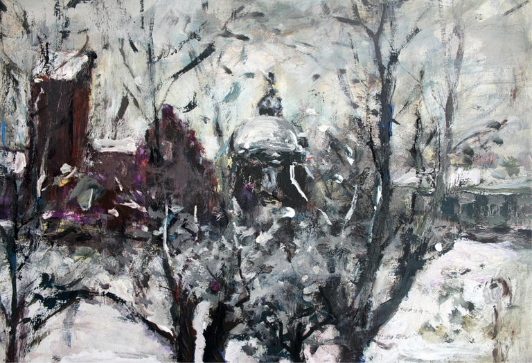 Warsaw - XXI century, Oil on canvas, Figurative, Landscape - Other Art Style Painting by Magdalena Spasowicz