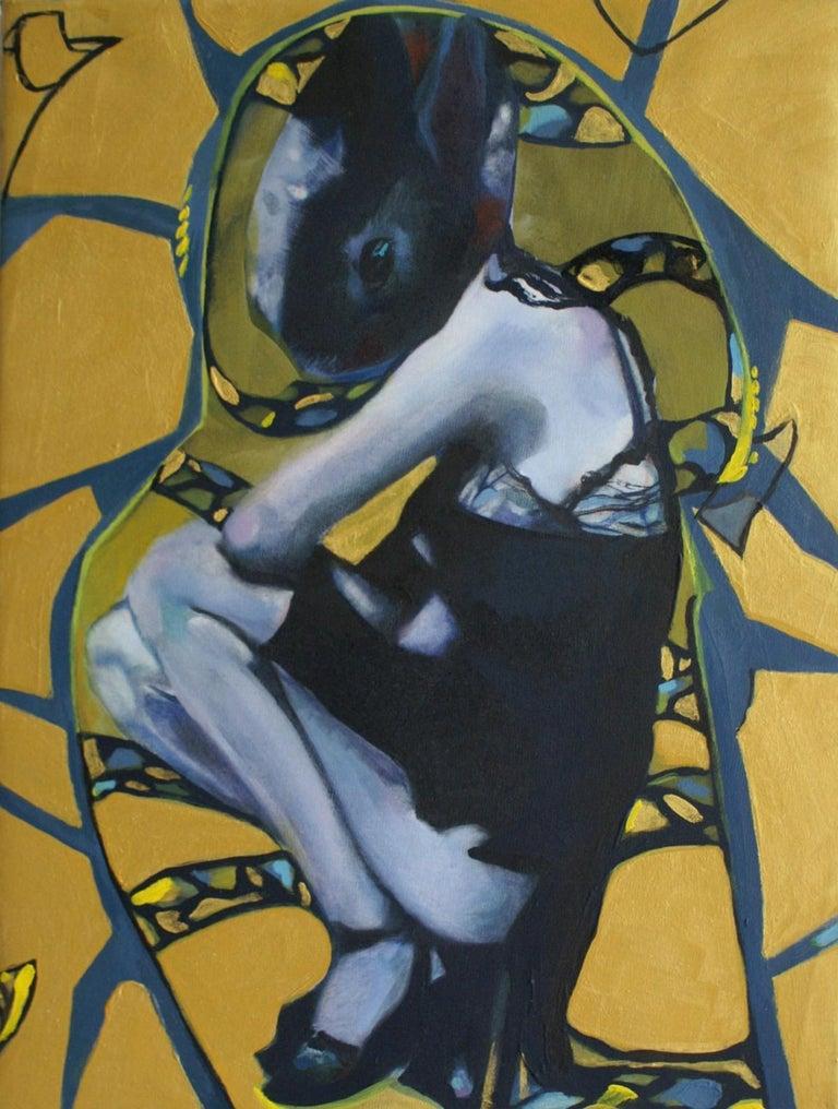 Nathalie Pirotte Figurative Painting - Golden rabbit - XXI century, Oil figurative painting, Bright colours