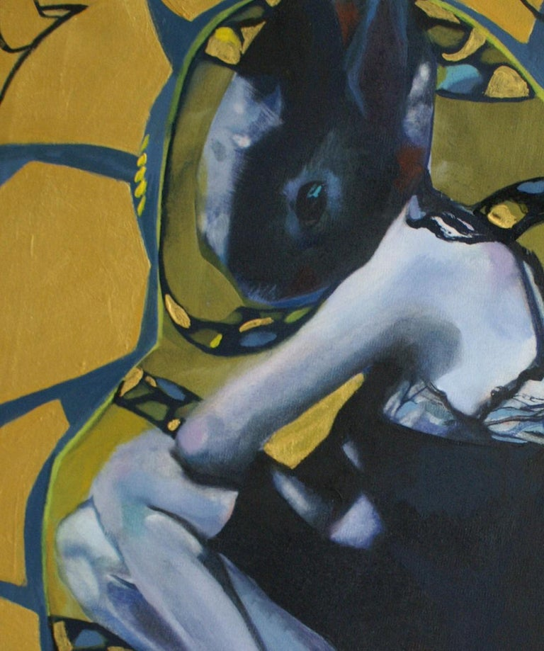 Golden rabbit - XXI century, Oil figurative painting, Bright colours - Painting by Nathalie Pirotte