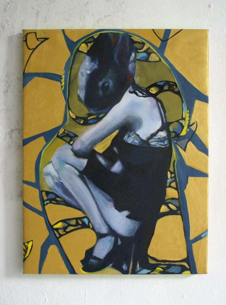 Golden rabbit - XXI century, Oil figurative painting, Bright colours - Other Art Style Painting by Nathalie Pirotte