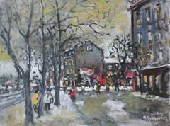 City view - XXI century, Oil on canvas, Figurative, Landscape