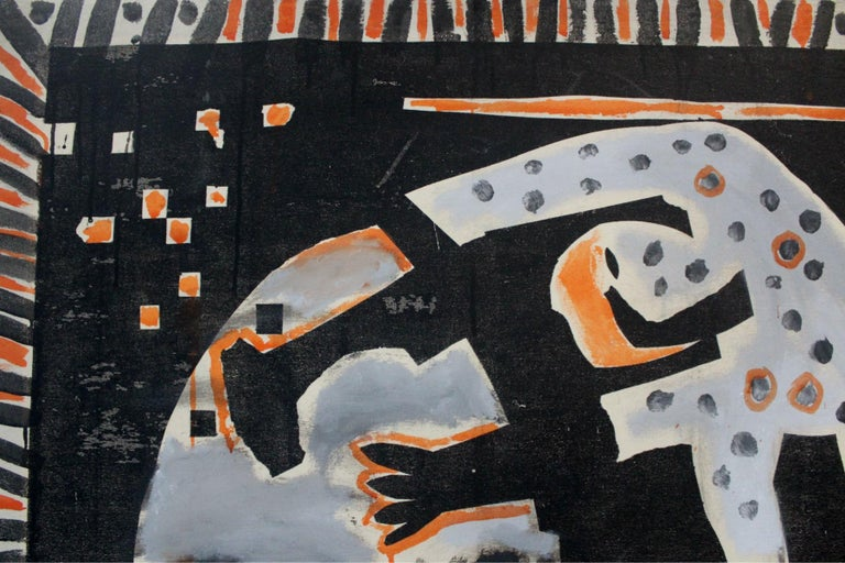 Hunting for Bula - XXI century, Figurative-abstract painting, Dark colours 4