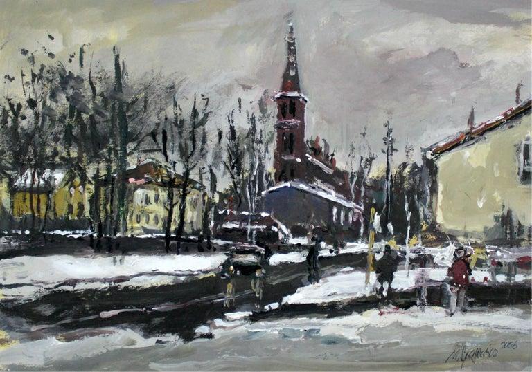 Winter view - XXI century, Oil on canvas, Figurative, Landscape 1