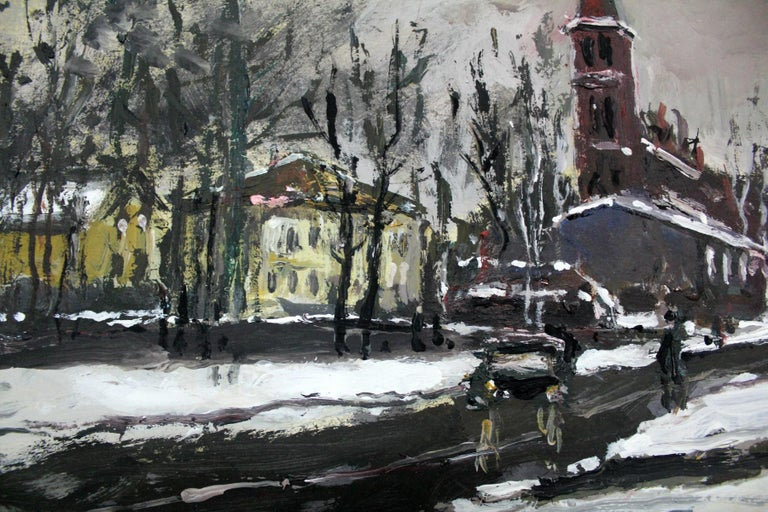 Winter view - XXI century, Oil on canvas, Figurative, Landscape 3