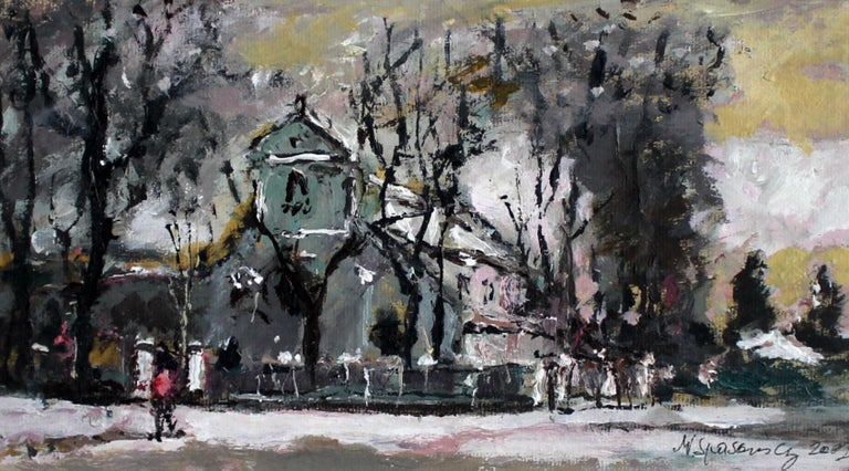 View with a church - XXI century, Oil on canvas, Figurative, Landscape 1