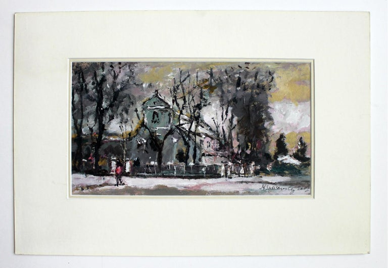 View with a church - XXI century, Oil on canvas, Figurative, Landscape 2