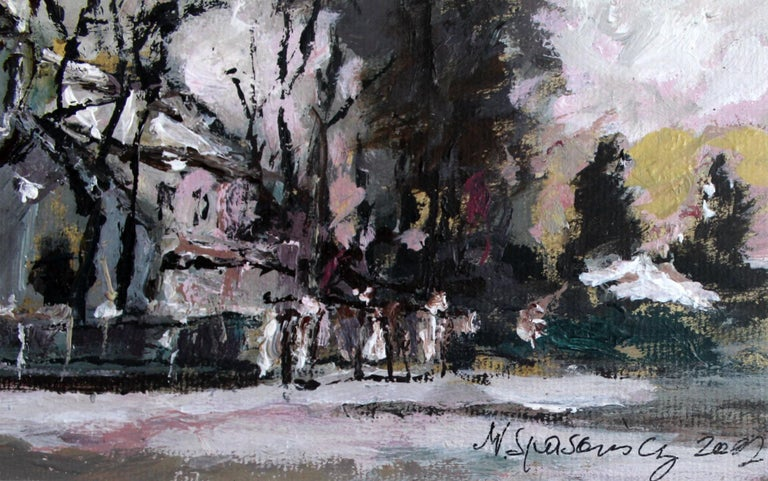 View with a church - XXI century, Oil on canvas, Figurative, Landscape 3