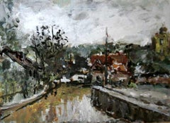 Suburban view - XXI century, Oil on canvas, Figurative, Landscape