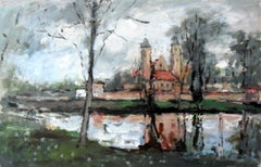 Church in Brochów - XXI century, Oil on canvas, Figurative, Landscape