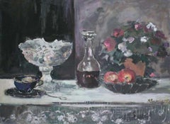 Still life with a carafe - XXI century, Oil painting, Figurative, Grey tones