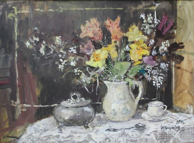 Still life with a sugar bowl - XXI century, Oil painting, Figurative, Grey tones 1