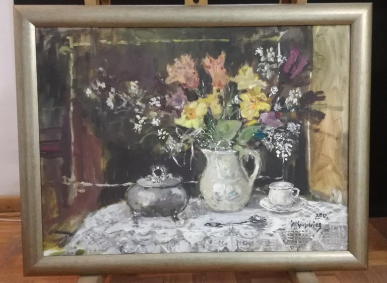 Still life with a sugar bowl - XXI century, Oil painting, Figurative, Grey tones 2