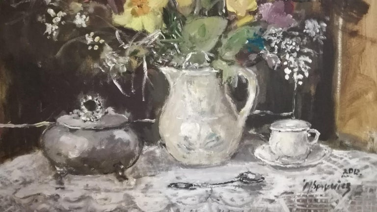 Still life with a sugar bowl - XXI century, Oil painting, Figurative, Grey tones 3