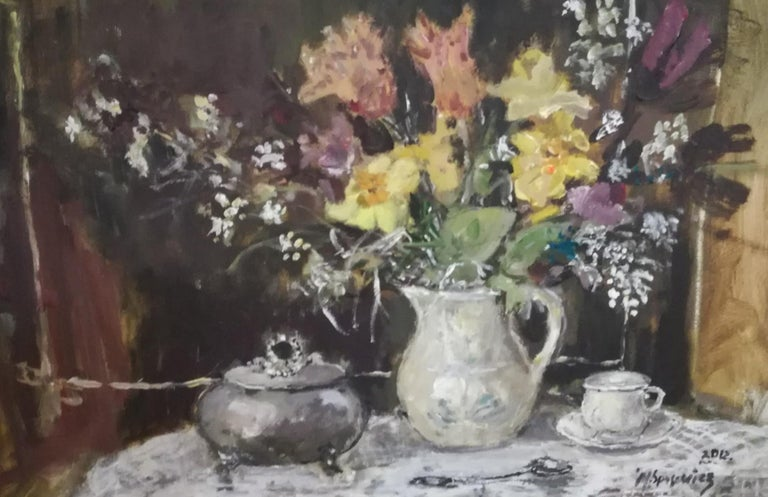 Still life with a sugar bowl - XXI century, Oil painting, Figurative, Grey tones 4