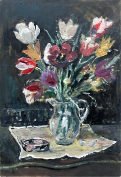 Flowers - XXI century, Oil painting, Figurative, Grey tones, Still life