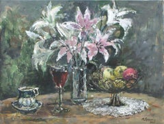 Still life. Lilacs - XXI century, Oil painting, Figurative, Grey tones
