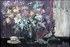 Still life. Flowers - XXI century, Oil painting, Figurative, Grey tones