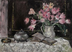 Still life with a sugar bowl - XXI century, Oil painting, Figurative, Grey tones