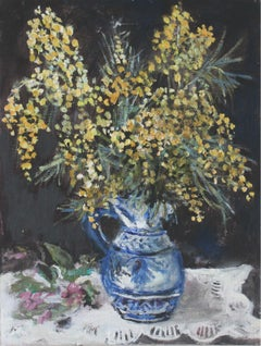 Yellow flowers - XXI century, Oil painting, Figurative, Grey tones, Still life