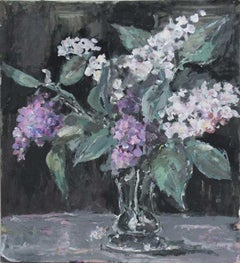 Lilacs - XXI century, Oil painting, Figurative, Grey tones, Still life
